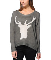 Billabong Girls Natures Callin Grey Crew Neck Sweater
