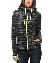 Billabong Girls Next To Me Black Stripe Fleece Jacket