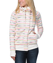 Billabong Girls Next To Me Holly White Stripe Tech Fleece Jacket