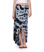 Billabong Hang On Blue Tie Dye High Low Maxi Skirt