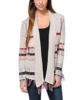Billabong Milena White Jacquard Fringe Wrap Sweater