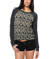 Billabong Moana Charcoal Geo Print Crew Neck Sweatshirt