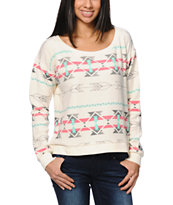 Billabong This Melody Milena White Crew Neck Sweatshirt