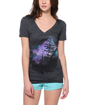 Bitter Sweet Space Forest Heather Charcoal V-Neck Tee Shirt