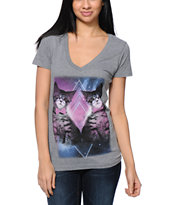Bitter Sweet Space Kitties Charcoal V-Neck T-Shirt