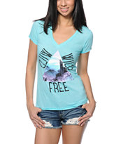 Bitter Sweet Wild Wild Free Mint V-Neck T-Shirt