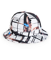 Black Scale Ghost Plaid Bucket Hat