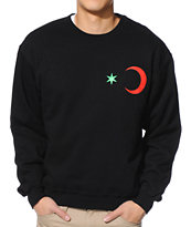 Black Scale Six Point Star Crescent Black Crew Neck Sweatshirt