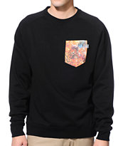 Bohnam Space Animals Black Crew Neck Pocket Sweatshirt