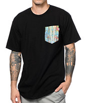 Bohnam Tie Dye Pocket Black Tee Shirt
