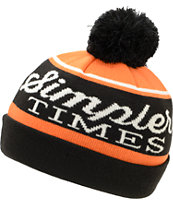 Bohnam Times Black & Orange Pom Fold Beanie