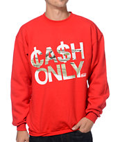 Booger Kids Cash Only Red Crew Neck Sweatshirt