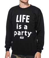 Booger Kids Life Is A Party Black Crew Neck Sweatshirt