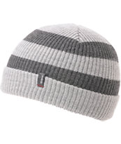 Brixton Carby Grey & Charcoal Striped Cuff Beanie
