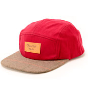 Brixton Cavern Red 5 Panel Hat