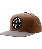 Brixton Cobra Brown & Black Snapback Hat