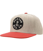 Brixton Cobra Grey & Burgundy Snapback Hat