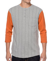 Brixton Detroit Grey & Orange Henley Baseball Tee Shirt