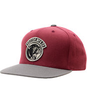 Brixton Growler Burgundy & Grey Snapback Hat