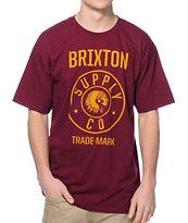 Brixton Norris Burgundy & Gold T-Shirt