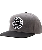 Brixton Oath III Charcoal & Black Snapback Hat