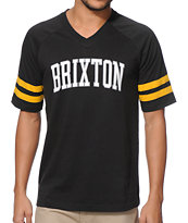 Brixton Victor Black Raglan Football V-Neck Tee Shirt