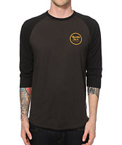 Brixton Wheeler Charcoal & Black Baseball T-Shirt