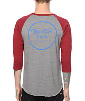 Brixton Wheeler Grey & Burgundy Baseball T-Shirt
