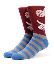 Bro Style USA Burgundy, Grey, & Blue Crew Socks