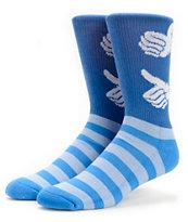 Bro Style USA White & Blue Crew Socks