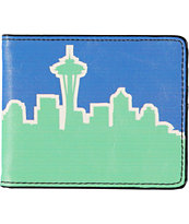 Buckle Down Seattle Skyline Green & Blue Bifold Wallet