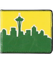 Buckle Down Seattle Skyline Green & Yellow Bifold Wallet