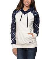 Burton Heron White & Blue Pullover Tech Fleece Jacket