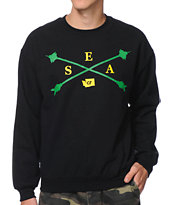 Cake Face Space Cross Arrows Black Crew Neck Sweatshirt