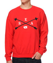 Cake Face Space Cross Arrows Red Crew Neck Sweatshirt