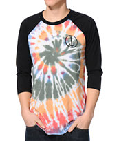 Captain Fin Tie Dye Baseball Tee Shirt