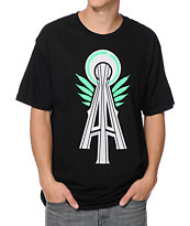Casual Industrees Alpha Space Needle Black Tee Shirt
