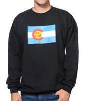 Casual Industrees CO Flag Black Crew Neck Sweatshirt