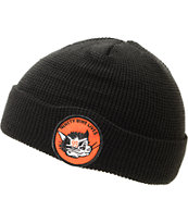 Casual Industrees Cat Patch Black Fold Beanie