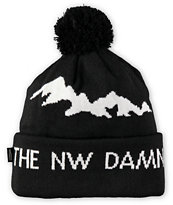 Casual Industrees Damn The Rest Black Pom Fold Beanie