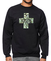 Casual Industrees Green Cross Black Crew Neck Sweatshirt
