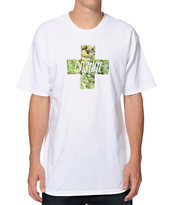 Casual Industrees Green Cross White Tee Shirt