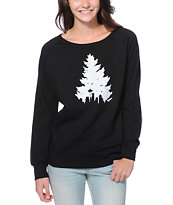 Casual Industrees Johnny Tree Speckle Black Crew Neck Sweatshirt