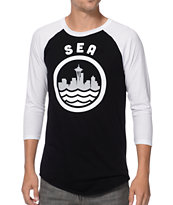 Casual Industrees SEA White & Black Baseball Tee Shirt
