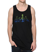 Casual Industrees Seattle Lights Fade Black Tank Top
