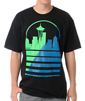 Casual Industrees Seattle Shadow Skyline Black T-Shirt