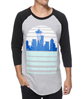 Casual Industrees Seattle Skyline Baseball T-Shirt