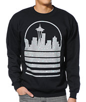 Casual Industrees Seattle Skyline Speckle Black Crew Neck Sweatshirt