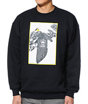 Casual Industrees Tree Plant Black Crew Neck Sweatshirt