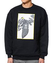 Casual Industrees Tree Plant Black Crew Neck Sweatshirt